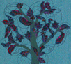 embroidery, radzio, katarzyna, katarzyna radzio, secesja, haft, haft artystyczny, haft komputerowy, haft maszynowy, prezent, gift, ślub, wedding,dekoracja, decoration, ornament, fantazyjne, jednostkowe, unikalne, unic, indywidualne, indyvidual, wyjątkowe, autorskie, secesja, secession, art, artistic, obraz, image,  chmury, raj, paradise, kwiaty, flower,listki, leaves, drzewo, tree, ptak, bird,