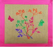 haft, haft artystyczny, haft komputerowy, haft maszynowy, prezent, dekoracja, ornament, fantazyjne, serwetka, juta, natura, rośliny, kwiaty, kwiaty polne, koperek ozdobny, motyle,różowy, fioletowy, bakłażan,