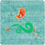 haft, haft artystyczny, haft komputerowy, haft maszynowy, prezent, dekoracja, ornament, fantazyjne, serwetka, bawełna, len, wielkanoc, wiosna, natura, gałązka, ptaszek, zielony, żółty, pomarańczowy