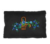 haft, haft artystyczny, haft komputerowy, haft maszynowy, prezent, dekoracja, ornament, fantazyjne, poduszka, len, natura, rośliny, kwiaty, kwiaty polne, chabry,  zielony, turkusowy, seledynowy